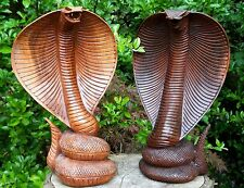 Handmade Carved Wooden COBRA SNAKE STATUE  30 cm Brown Colour GREAT QUALITY
