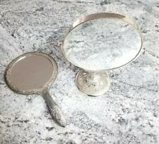 Vintage Ornate Silverplate Swivel Vanity Mirror & Hand Held Mirror Silver Japan