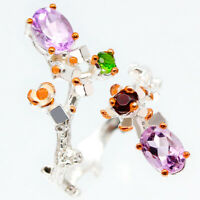 925 Sterling Silver Ring Serebro 925 proby Natural Amethyst Vintage / RVS122