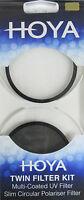 Hoya 55mm UV & Slim Polariser Twin Lens Filter Kit New & Sealed UK Stock