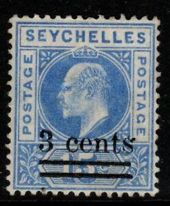 SEYCHELLES SG57a 1903 3c on 15c ULTRAMARINE DENTED FRAME MTD MINT