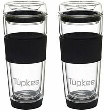 Tupkee Double Wall Glass Tumbler - Insulated Tea/Coffee Mug - 14-Ounce, Black