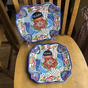 "IL MULINO SQUARE 10.5"" DINNER PLATES MELAMINE Spanish Tile Blue Floral Set Of 2"