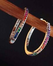 AAA QUALITY STERLING 925 SILVER JEWELRY FANCY COLOR ZIRCON HOOP EARRINGS