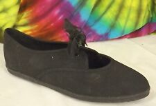 sz 8 M vintage 80s black canvas KEDS ESSENTIALS mary-jane flat tennis shoes NOS