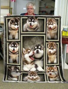Alaskan Malamute puppies Blanket Gift For Dog Lover Fleece Sherpa Blanket Xmas