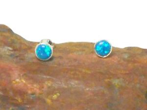 Round  Blue Opal  Sterling  Silver  925  Gemstone  Stud Earrings  - 5 mm