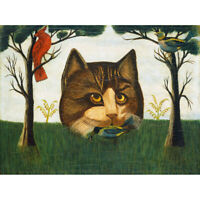 Birds Trees Surreal American The Cat Naive Painting Canvas Art Print Poster