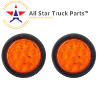 "Qty 2- 4"" INCH AMBER 12 LED ROUND SIGNAL TURN TRUCK LIGHT W/ GROMMET & WIRING"