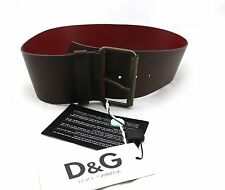 $395 DOLCE & GABBANA Brown Leather Buckle Wide Belt 34 85 Large NWT Italy