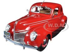 1939 FORD TUDOR DELUXE RED 1/18 DIECAST MODEL CAR BY MAISTO 31180