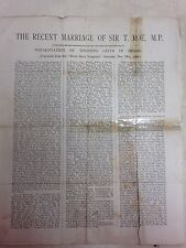 The recent marriage of Sir T. Roe, M.P.: Newspaper article from 1903