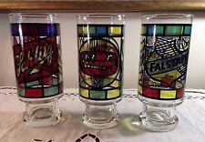 Vintage Set 3 Stained Glass Design Beer Glasses Schlitz, Schaefer, Falstaff EUC!