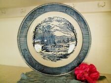 VINTAGE PLATTER ROUND BLUE & WHITE ROYAL CHINA CURRIER & IVES USA 31.5CM VGC