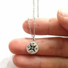 *UK* 925 SILVER PLT SMALL PETIT COMPASS ENGRAVED NECKLACE NORTH TRAVEL WOMEN