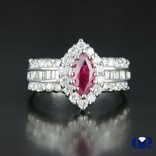 1.80 Carat Natural Ruby & Diamond Engagement Anniversary Ring 14K White Gold