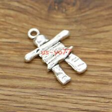 5 Large Scarecrow Inukshuk Pendant Metal Charms Antique Silver 28x37 3062
