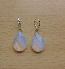 Lustrous Opalite MOONSTONE simple  drop EAR RINGS Sterling Silver Gift wrapped