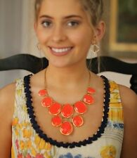 KATE SPADE NEON FLO RARE FLAME CORAL TRANSLUCENT PARADISE PEBBLES NECKLACE NWT