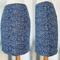 Mercer & Madison Blue Geometric Print Cotton Pencil Skirt Aztec Print Size 14