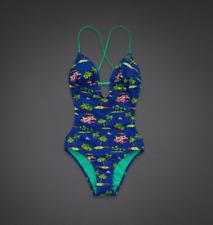 NWT Hollister Women's Bikini Swimwear One Piece Set blue print SIZE M