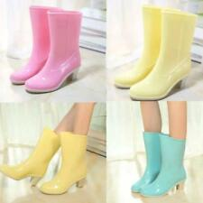 Women's Sweet Shiny Shoes Pull On Block Heel Rain Mid Calf Boots Candy Colors