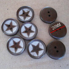"Lot of 10 BROWN STAR 2-hole Wooden Knopf Button 3/4"" Scrapbook Craft (3600L)"