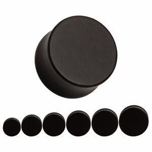 BLACK Wooden Ear Plugs Stretchers Jewellery Saddle Gauge Tunnel Timber PL68