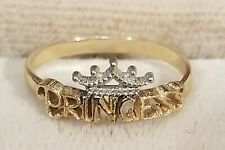 VINTAGE WALT DISNEY PRINCESS w/ CROWN 14K YELLOW & WHITE GOLD GIRLS RING