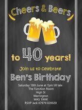 PERSONALISED MENS BIRTHDAY PARTY INVITATIONS INVITES 21ST 30TH 40TH 50TH 60TH B4