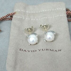 DAVID YURMAN EARRING STUD 9.5MM PEARL WITH DIAMOND