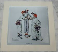 Vintage Norman Rockwell Sporting Boys Foil Etch Prints, Complete Set of 4 Sports
