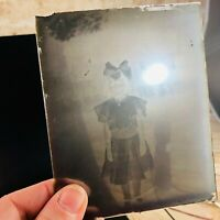 lot of VINTAGE GLASS plate NEGATIVES girls w bows farmhouse & More 1920's