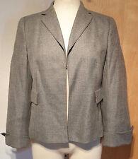 New sz 40 / US 10 AKRIS leather trim gray jacket coat suit, $3700