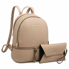 Women Beige Handbags Patent Faux Leather Backpack Schoolbag w/ Matching Whrist
