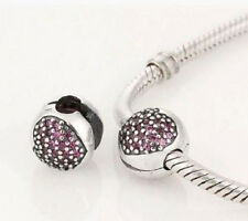 DARK PURPLE CRYSTAL LOVE HEART CLIP STOPPER CHARM BEAD