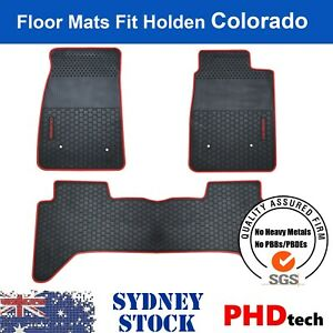 Holden COLORADO RG CREW DUAL Cab All Weather Rubber Car Floor Mats RED Trim LOGO