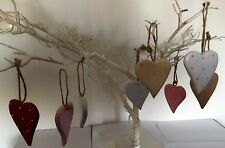 Painted Hanging Wooden Hearts Handmade Set of 15  Home Decoration