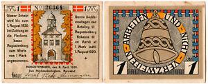 Germany 1 Mark Notgeld P#UNL (1920) Augustenburg VF