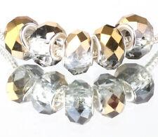 Gold AB 5pcs MURANO Crystal bead LAMPWORK fit European Charm Bracelet A523