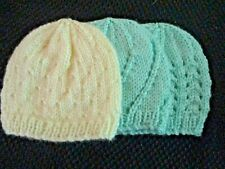 PREEMIE 5-7 lbs BABY HATS. Set of 3. Hand knitted . 2 Mint Green, 1 White