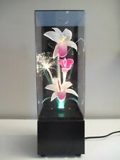 Vtg Fiber Optic Color Changing Tropical Flowers Light Mood Lamp w/Music Box Tiki