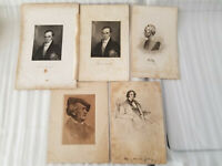LOT OF 5 ANTIQUE 1800'S LONGFELLOW CLAY WEBSTER ORIGINAL ENGRAVINGS
