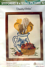 """Vintage 70's Wonder Art Crewel Embroidery Kit COUNTRY KITCHEN - 9"""" x 12"""" Sealed"""