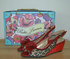 Red Wedge Sandals Leopard Poetic Licence Shoes Miss Behave US 6 Eur 37 Slingback