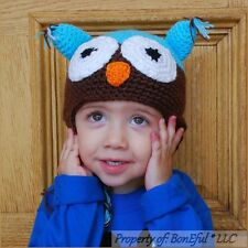 BonEful RTS NEW Boutique Crochet Knit Unisex Baby Gift Boy OWL Brown WINTER HAT