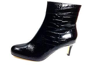 Kate Spade Black Crocodile Patent Leather Ankle Boot Size US.10 EU.40-41 UK.8