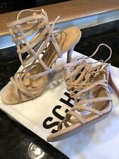 SCHUTZ HEELS SUEDE TAN LACE UP BACK SIZE 10