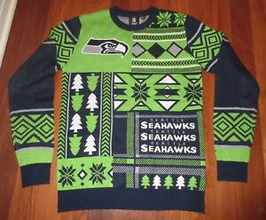 """NFL Seattle SEAHAWKS Ugly Holiday """"Nordic"""" Sweater ~Worn Once! Ladies Size SMALL"""