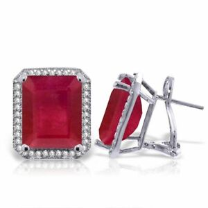 Genuine Red Ruby Emerald Cut Gems & Diamonds French Clip Halo Earrings 14K Gold